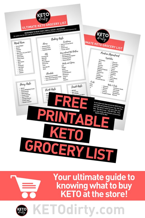 Free Printable KETO Grocery List PDF Format click below to download