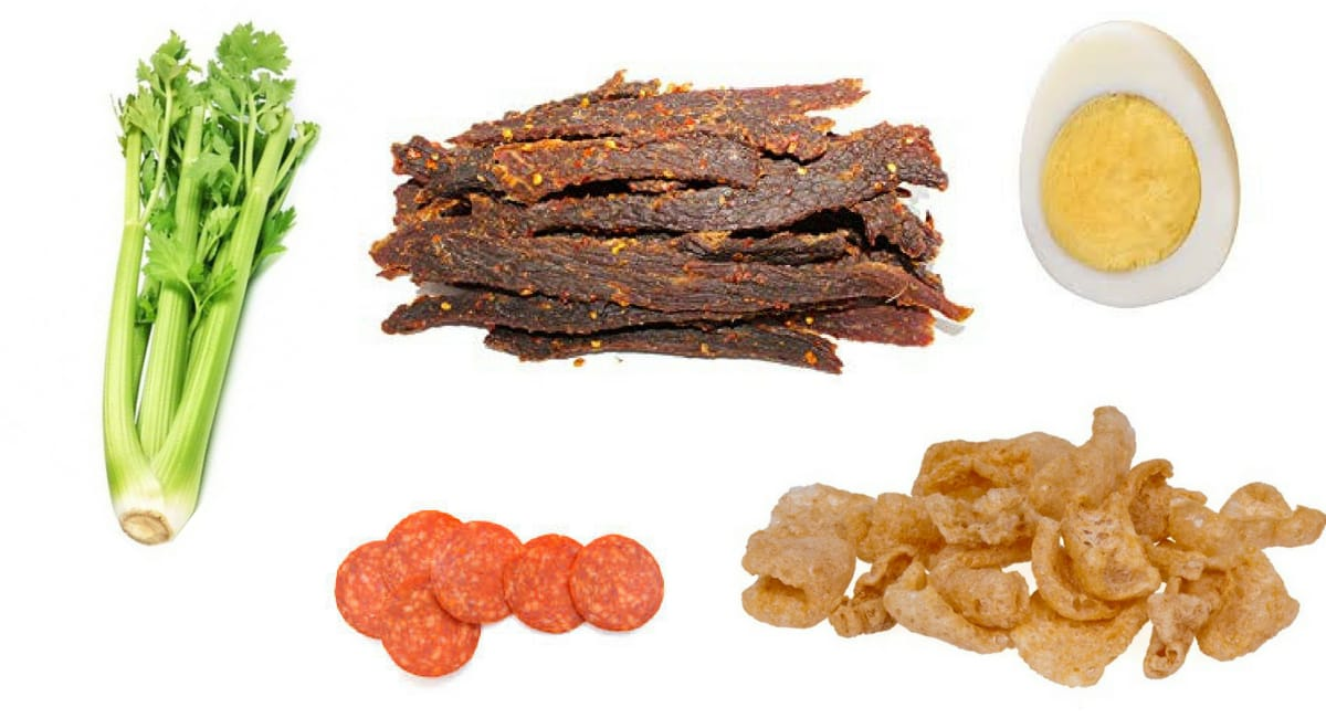 ketogenic snacks ideas image of celery bacon egg pepperoni pork rinds