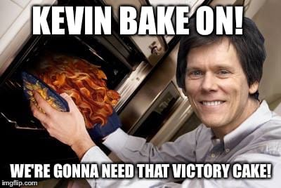 kevin bacon meme says kevin bake on with bacon