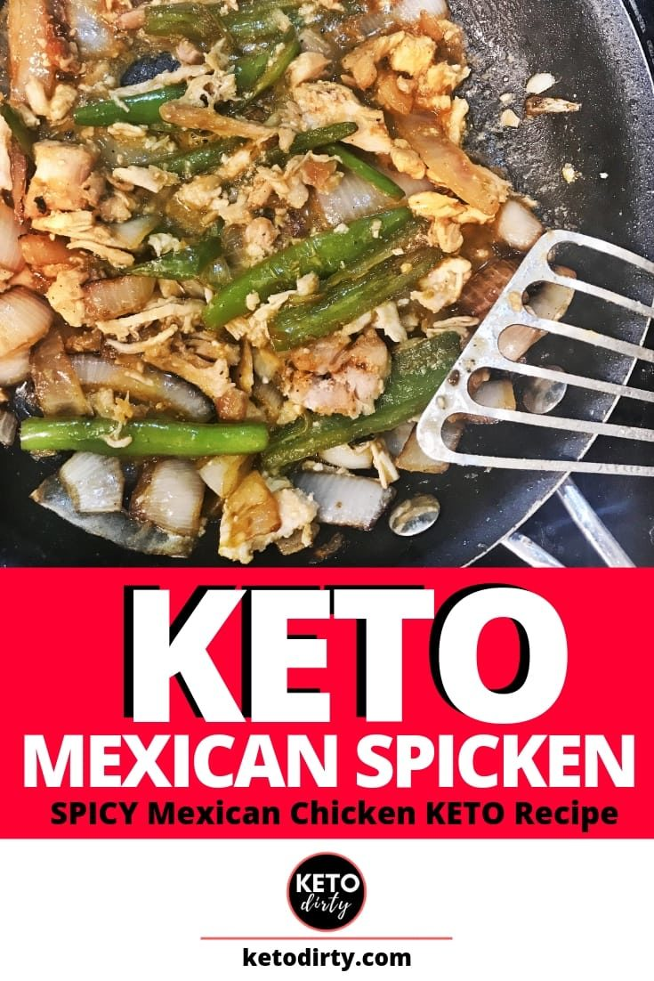 This easy KETO recipe is the perfect dish for anyone who is eating low carb and loves Mexican food! We are calling it KETO Mexican Spicken. What it is - KETO spicy chicken! With a delicious pepper and onion mix with chicken breast, this mexican recipe is amazing!