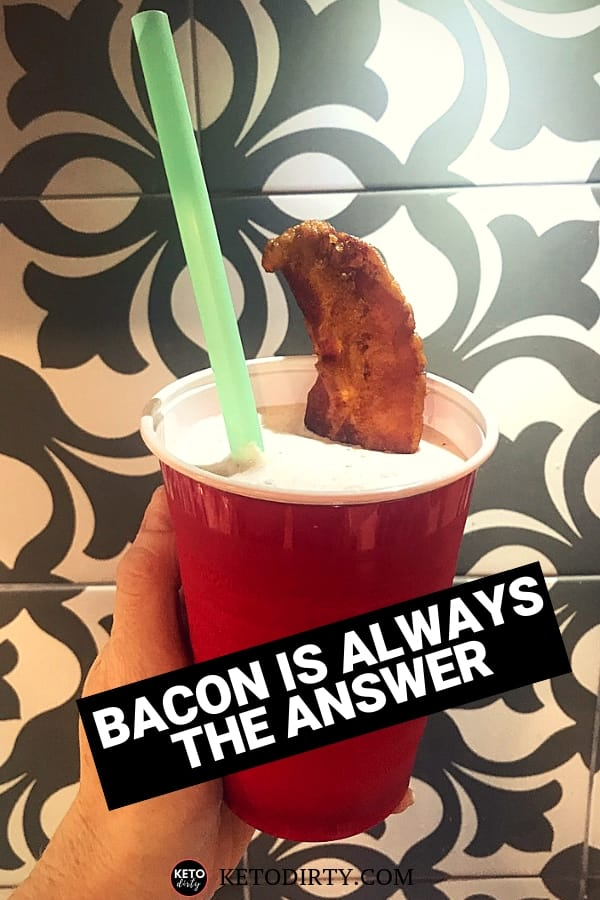 bacon shake in red solo cup with straw