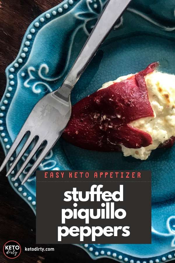 Delicious and easy keto recipe - make these cheese stuffed piquillo peppers!