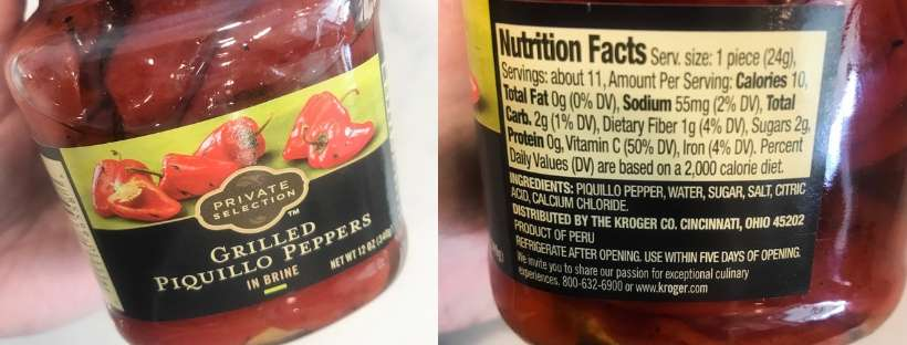 jarred grilled piquillo peppers nutrition information