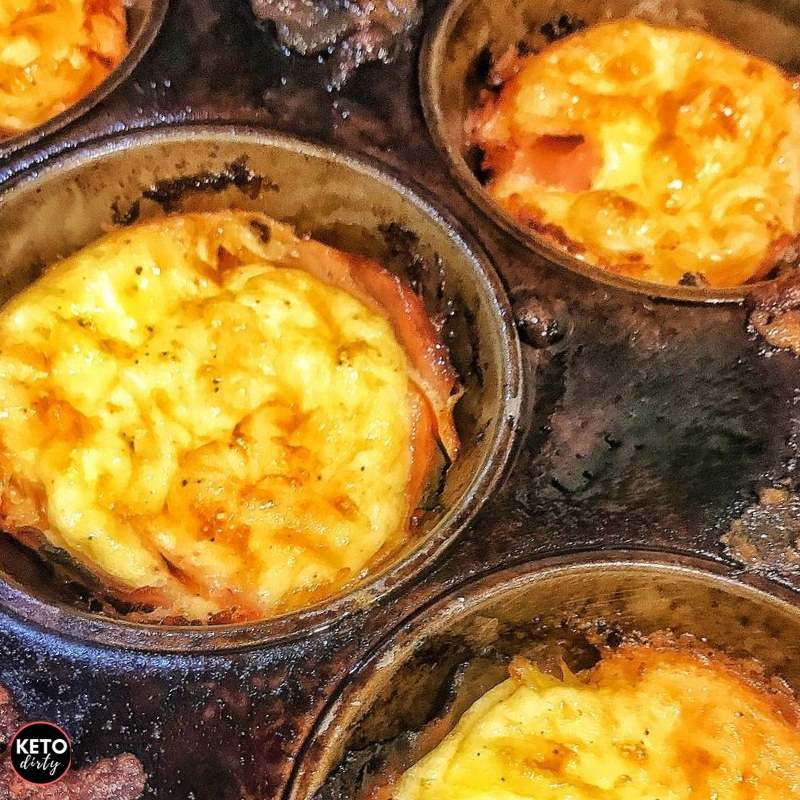 keto ham cheese cups made in muffin pans