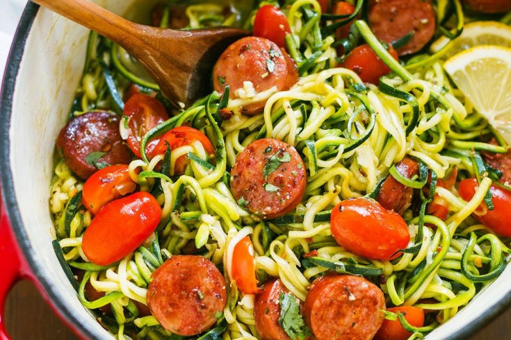 One-Pot Smoked Sausage and Zucchini Noodles