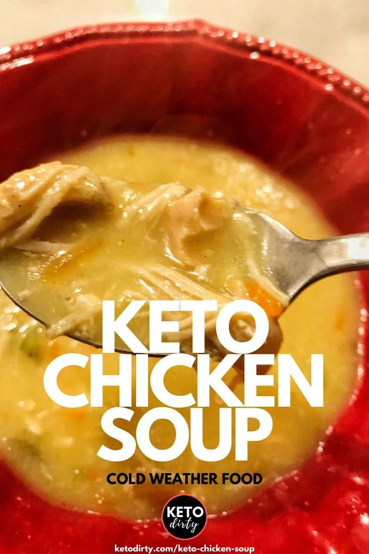 Enjoy this delicious Keto Chicken soup recipe. We are showing you how to make this low carb soup on the stove, Instant Pot or slow cook in the crock pot. Any which way, your family will love it! Perfect chicken soup for cold weather. #chickensoup #keto #ketorecipes #ketosoup #lowcarbsoup #lowcarb #instantpotketo #instantpotsoup