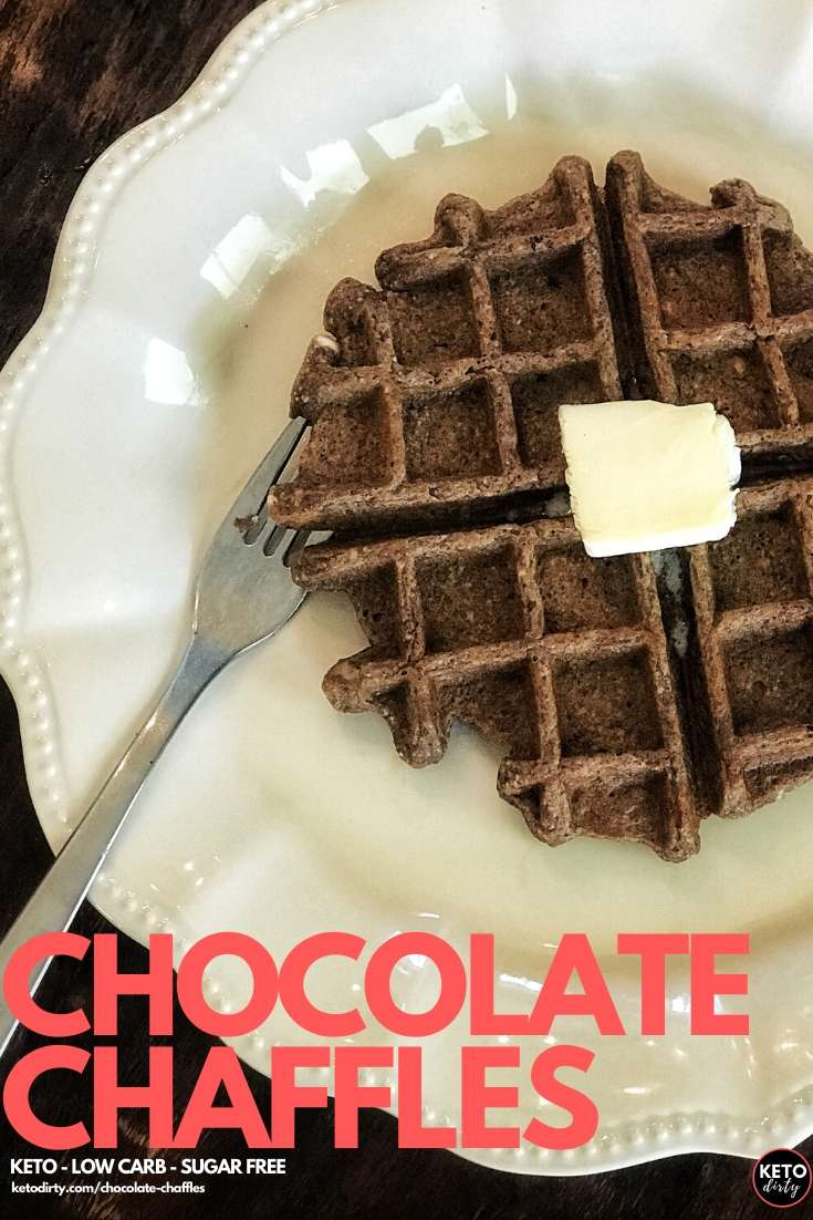 Chocolate Chaffles Recipe - this easy low carb recipe is perfect for breakfast. A new twist on the chaffle craze, we've added chocolate and made a delicious low carb waffle recipe.