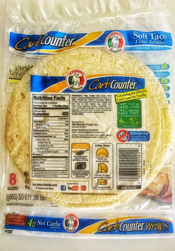 la banderita low carb tortillas nutrition