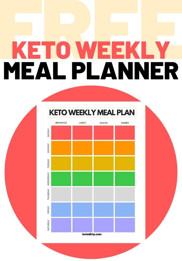 weekly keto meal planner template free pdf to help with meal planning low carb meals