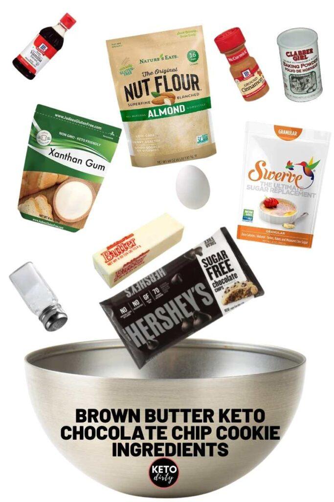 keto chocolate chip cookies recipe ingredients brown butter