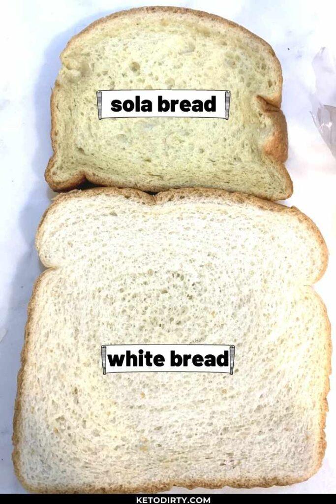 no sugar sola bread vs white bread slice size